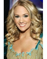Carrie Underwood Hairstyle Long Wavy Mix Color Lace Front Human Hair Wigs About 22 Inches